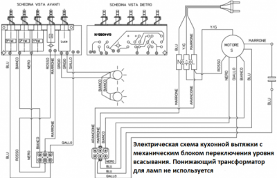Схема вытяжки Faber с механическим блоком Ремонт и диагностика кухонных вытяжек Faber в Москве и МО