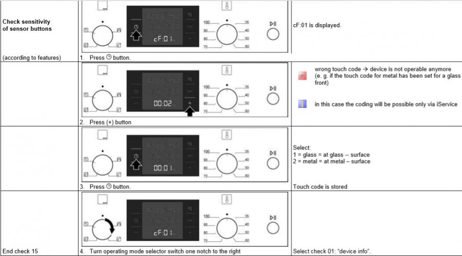 Духовка Bosch HBC 84K563 настройка чувствительности сенсоров