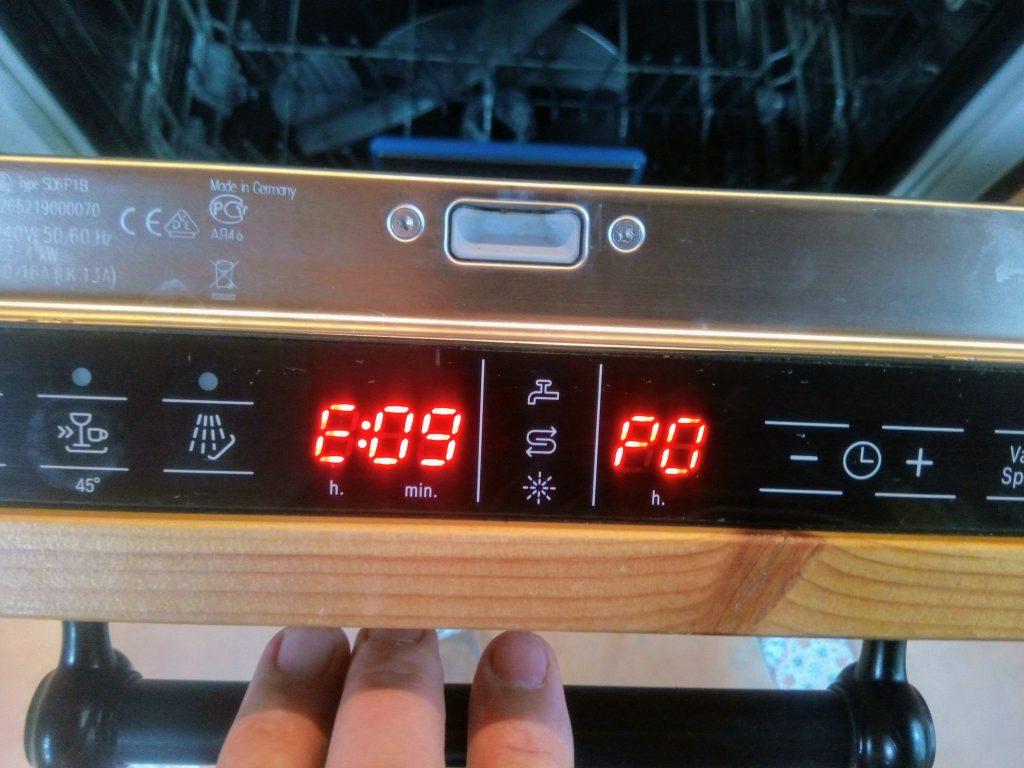 Е09 сгорел нагреватель посудомоечной машины
